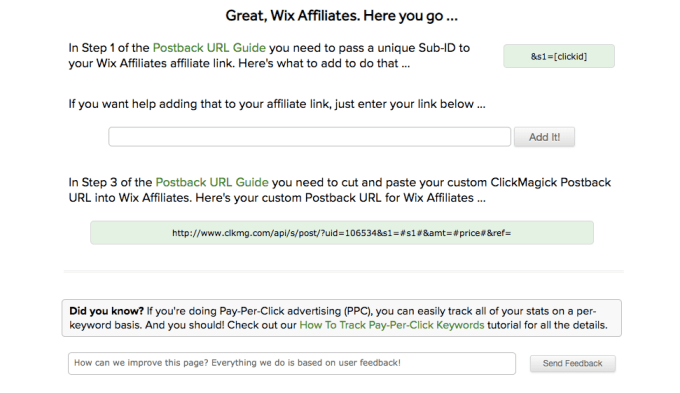 affiliate network sales tracking screenshot