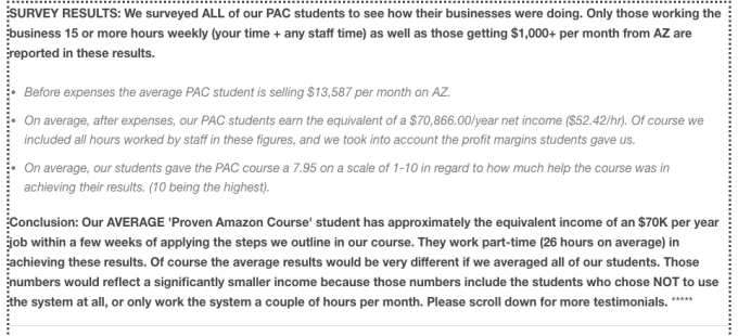 survey results proven amazon course