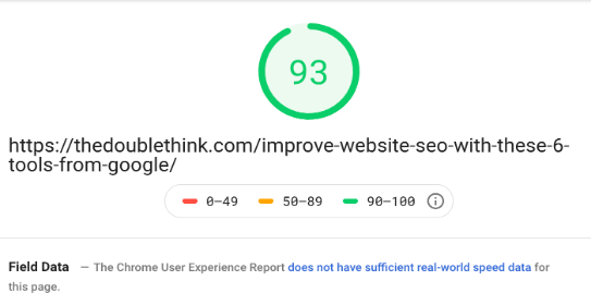 google page speed insights test results for desktop