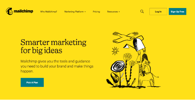 website homepage of mailchimp
