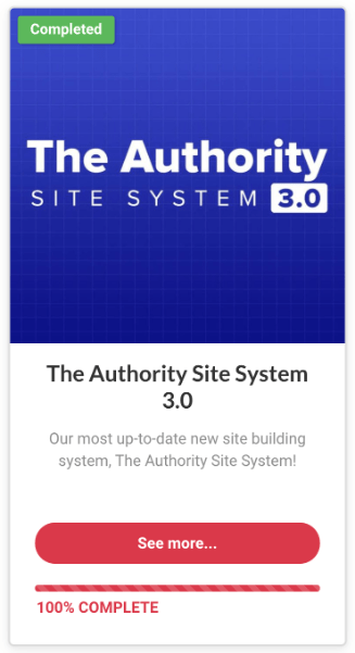 the authority site system completion confirmation