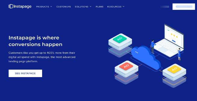 instapage website screenshot