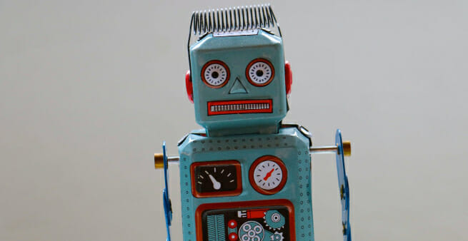 old fashioned mechanical toy robot