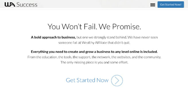 wealthy affiliate screenshot of success promise